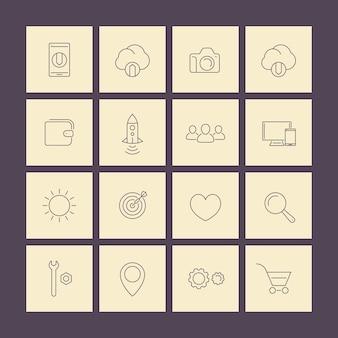 Pacchetto di icone quadrate web linea sottile