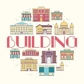 Set di edifici colorati della città di linee sottili