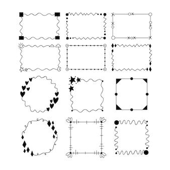 Collezione di linee di cornice ornamentale sottile