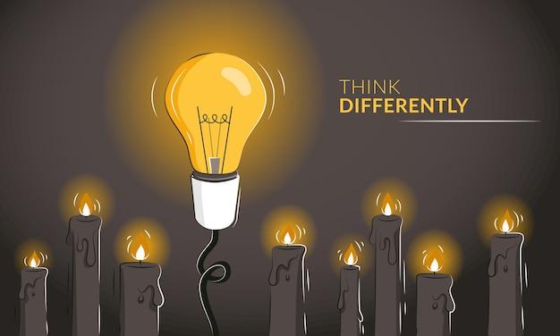 Pensa in modo diverso banner orizzontale motivazionale con la lampadina tra le candele.