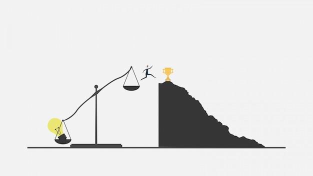 Pensa il concetto di idea visione di successo con l'icona della lampadina