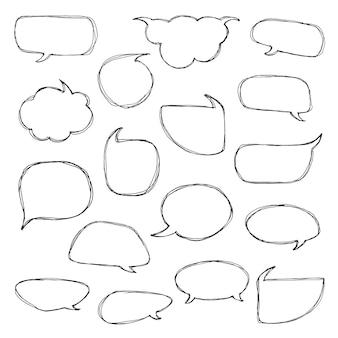 Pensa ai fumetti. collezione artistica di palloncini, nuvole e cuori in stile doodle disegnato a mano. illustrazione di vettore nello stile di abbozzo.