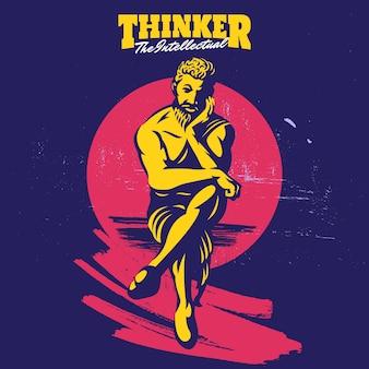 Modello di logo della mascotte del pensatore