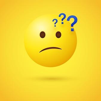 Faccina pensante emoji con simboli di punto interrogativo o emoticon confuso