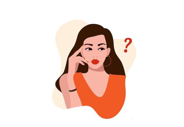 Pensando ragazza, una donna curiosa interrogatorio, punto interrogativo, illustrazione piatta.