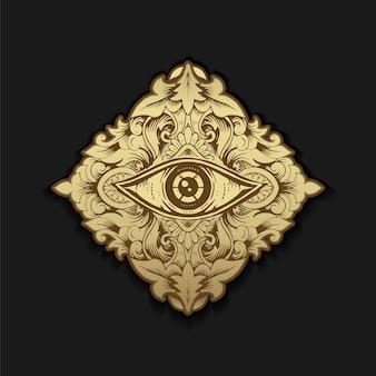 Incisione del simbolo del terzo occhio o di un occhio con foglia di lusso color oro e verde, per guida spirituale al lettore di tarocchi. alchimia, illuminati, spiritualità, misticismo, massoneria, astrologia.