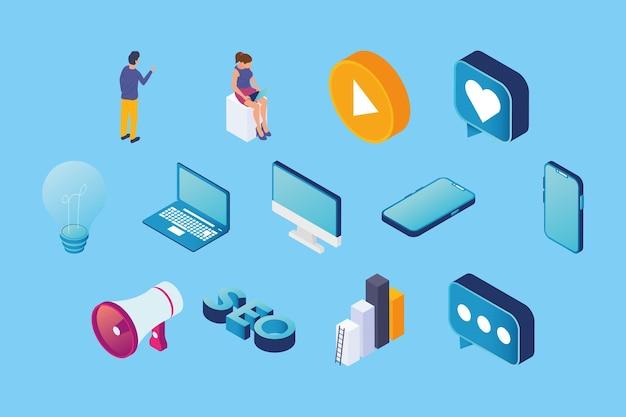 Tredici set di clipart di marketing multimediale