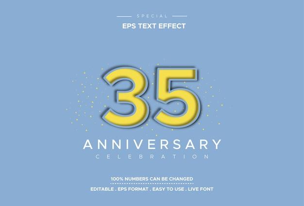 Effetto testo trentacinque anniversario su sfondo azzurro