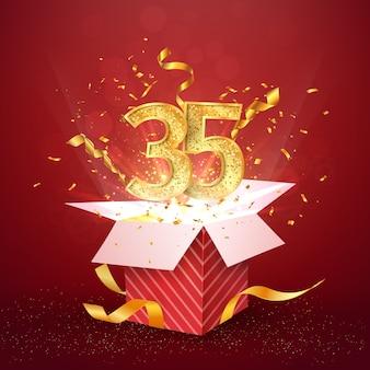 Trentacinque anni numero anniversario e confezione regalo aperta con elemento di design isolato coriandoli esplosioni