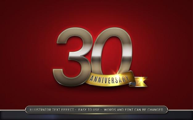 Trent'anni anniversario - stile di effetto di testo modificabile
