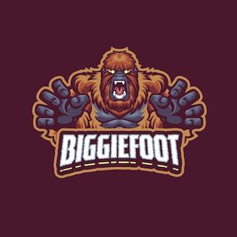 Questo è il logo della mascotte bigfoot. questo logo può essere utilizzato per sport, streamer, giochi e logo esport.