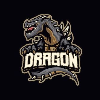 Questo il logo della mascotte del drago nero. questo logo può essere utilizzato per sport, streamer, giochi e logo esport.