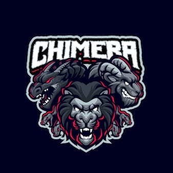 Questo è il logo della mascotte chimera. questo logo può essere utilizzato per sport, streamer, giochi e logo esport.