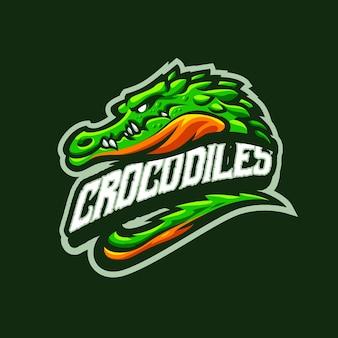 Questo è il logo della mascotte dei coccodrilli. questo logo può essere utilizzato per sport, streamer, giochi e logo esport.