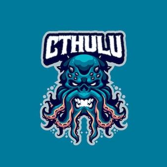 Questo è il logo della mascotte di cthulhu. questo logo può essere utilizzato per sport, streamer, giochi e logo esport.