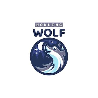 Questo il logo della mascotte del lupo sveglio. questo logo può essere utilizzato per ristorante, cibo e bevande, logo aziendale o aziendale.