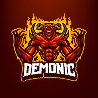 Questo il logo della mascotte del demone. questo logo può essere utilizzato per sport, streamer, giochi e logo esport.