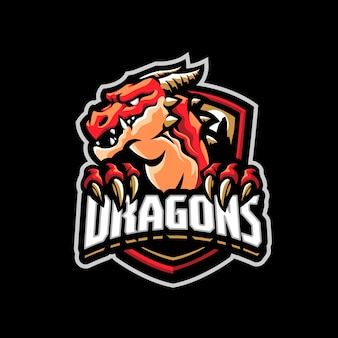 Questo è il logo della mascotte del drago. questo logo può essere utilizzato per sport, streamer, giochi e logo esport.