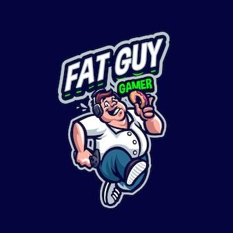 Questo è il logo fat guy mascot. questo logo può essere utilizzato per sport, streamer, giochi e logo esport.