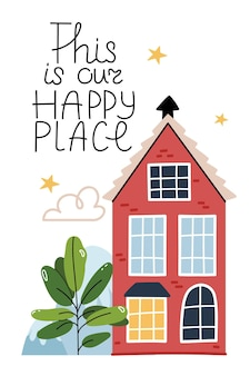 Questo è il nostro posto felice casa rossa su un bel prato atmosfera accogliente luce alla finestra cielo estivo stellato