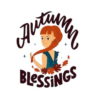 Questa è una citazione benedizione autunnale la ragazza con una falce per l'autunno disegna uno stendardo del ringraziamento