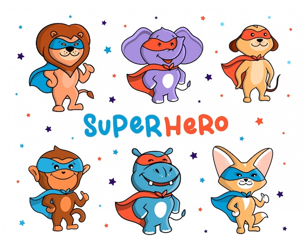 Questo è un insieme di animali che sono supereroi. sei personaggi dei cartoni animati della giungla con maschere e mantelli.