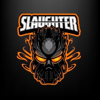 Questo è il logo della mascotte della maschera assassina. questo logo può essere utilizzato per sport, streamer, giochi e logo esport.
