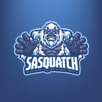 Questo è il logo della mascotte sasquatch. questo logo può essere utilizzato per sport, streamer, giochi e logo esport.
