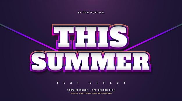 Questa estate testo con stile retrò e cartone animato in sfumatura colorata. effetto stile testo modificabile
