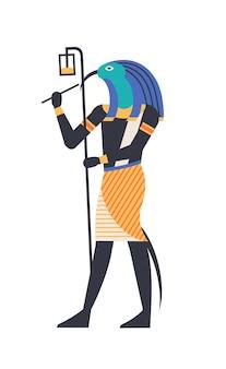 Thoth - dio della luna, saggezza e magia, divinità o creatura mitologica con testa di uccello o ibis che tiene il simbolo ankh