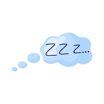 Sonno di pensiero-palloncino su sfondo bianco. fumetto fumetto isolato vettore adesivo in stile piatto llustration