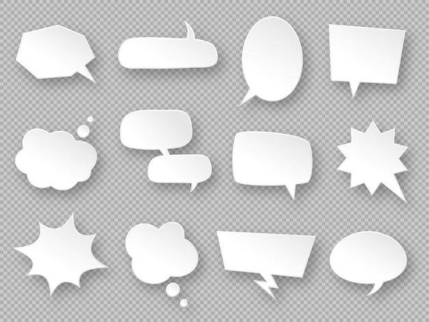 Palloncini di pensiero. fumetti di carta, nuvole di messaggi di comunicazione bianche, tag dei sogni, etichette di discussione, chat di dialogo vuote set di vettori in diverse forme ovali, rettangolari, nuvole