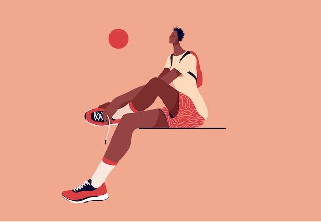 Giocatore di pallacanestro afroamericano premuroso che si siede sulla panchina. illustrazione di concetto di stile piatto.
