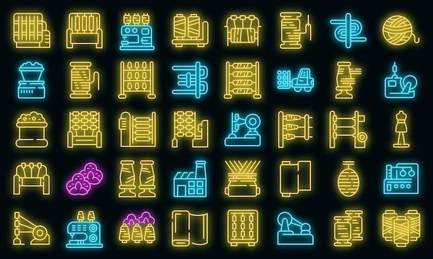 Set di icone di produzione di filettatura. contorno set di icone vettoriali per la produzione di filo colore neon su nero