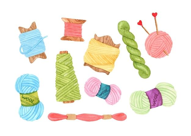 Insieme di elementi dell'acquerello di lana filato di fili