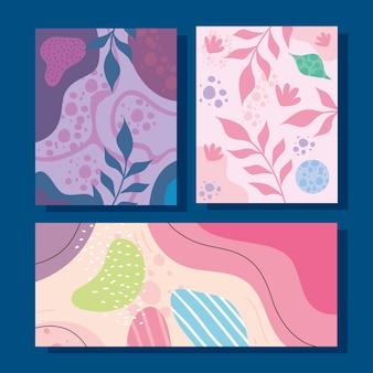 Tre abstracs organics forme sfondi illustrazione vettoriale design