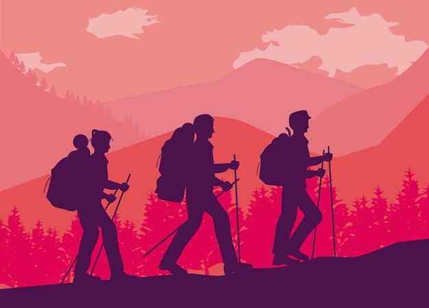 Scena di camminata di tre avventurieri