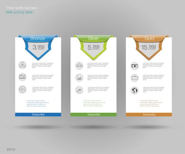 Tre banner per le tariffe e i listini. elementi web. pianifica l'hosting. per l'app web. pianificare il sito web in appartamento.