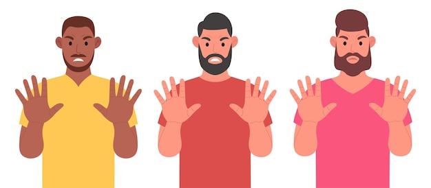 Tre uomini barbuti mostrano un gesto di arresto con le mani. set di caratteri. illustrazione vettoriale.