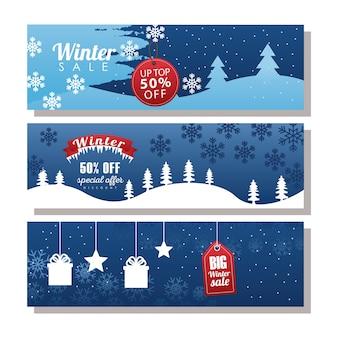 Tre grandi scritte di vendita invernale con etichette e nastro nel disegno dell'illustrazione dei paesaggi innevati