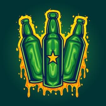 Illustrazioni di tre bottiglie di birra illustrazioni vettoriali per il tuo lavoro logo, t-shirt di merce mascotte, adesivi e design di etichette, poster, biglietti di auguri che pubblicizzano aziende o marchi.