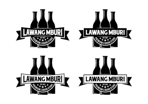 Tre bottiglie, ispirazione per il design del logo della bottiglia di liquore vintage Vettore Premium