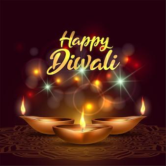 Tre diya ardenti su happy diwali holiday su sfondo scuro con luci scintillanti per il festival della luce dell'india. felice banner modello deepavali giorno. elementi decorativi per le feste lampada a olio deepavali.