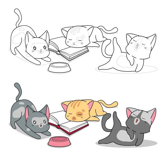 Pagina da colorare di tre personaggi del gatto del fumetto per i bambini