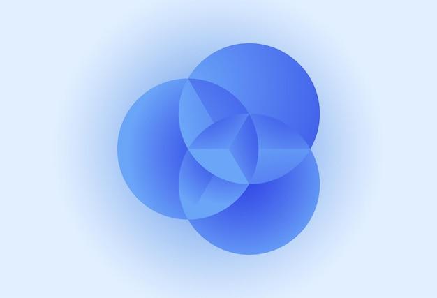 Tre cerchi con illustrazione di sfondo vettoriale concetto di colore blu