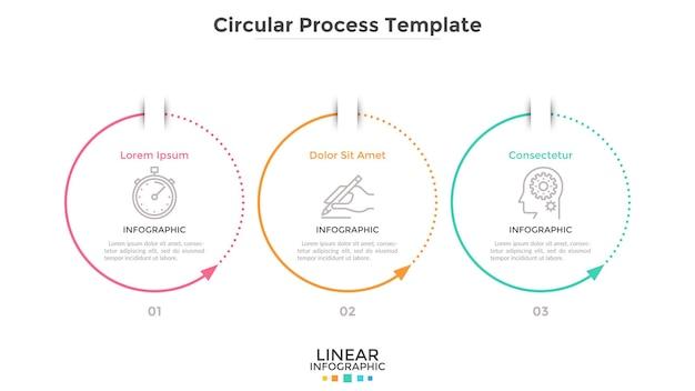 Tre elementi circolari con frecce disposti in fila orizzontale. concetto di 3 fasi cicliche del processo aziendale. modello di progettazione infografica semplice. illustrazione vettoriale piatto per diagramma di avanzamento.