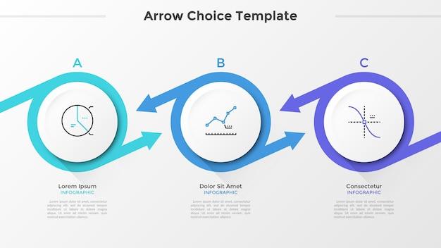 Tre elementi circolari di carta bianca con simboli di linea sottile all'interno disposti in fila orizzontale e collegati da frecce colorate. modello di progettazione infografica. illustrazione di vettore per la presentazione.