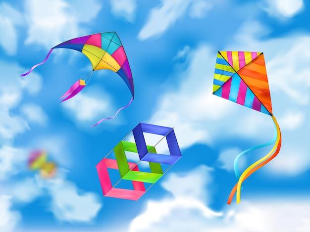 Illustrazione del cielo di tre aquiloni colorati e realistici