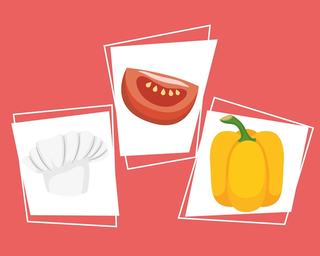 Set di tre elementi di cottura per alimenti