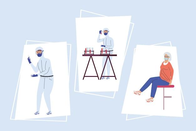 Tre icone del set di test covid